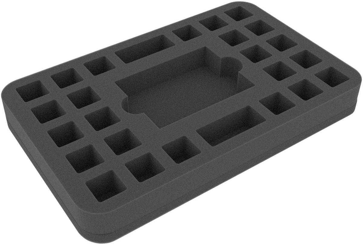 HSHP030BO 30 mm (1.2 inches) half-size foam tray 24 square cut-outs plus card-slot
