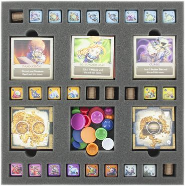 AGHS035BO 35 mm foam tray with 33 compartments for Masmorra: Dungeons of Arcadia - dice and dungeon tiles