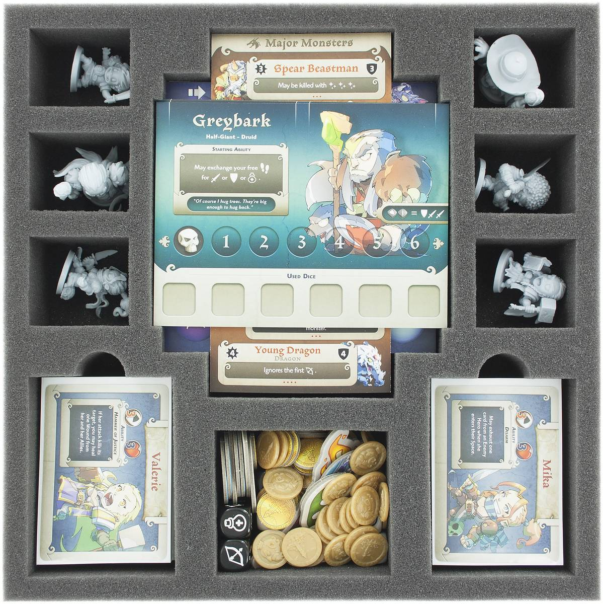 AGHR050BO 50 mm foam tray with 10 compartments for Masmorra: Dungeons of Arcadia - heroes and cards