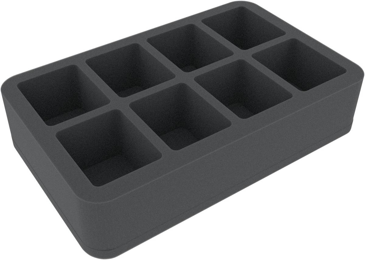 HS060BF02BO (2.4 inches) half-size Figure Foam Tray with 8 large cut-outs