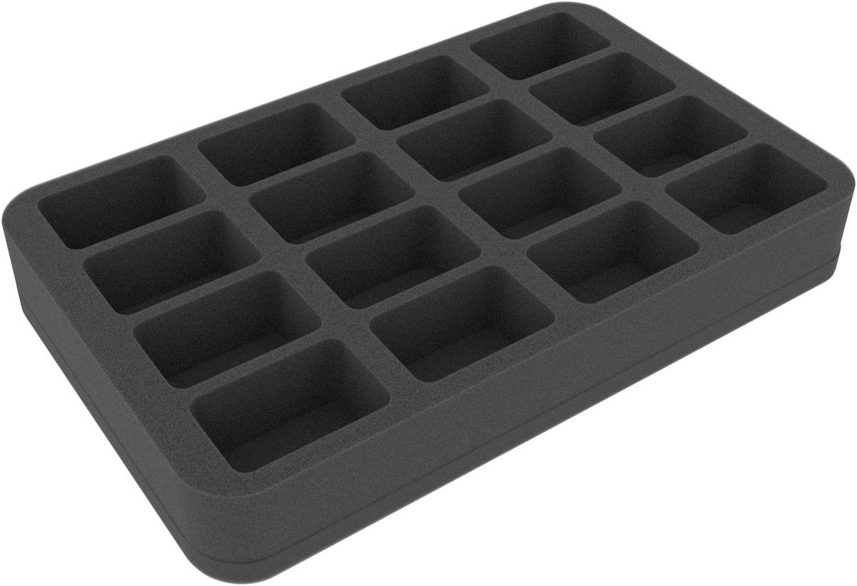 HS040BF05BO 40 mm Half-Size foam tray with 16 compartments