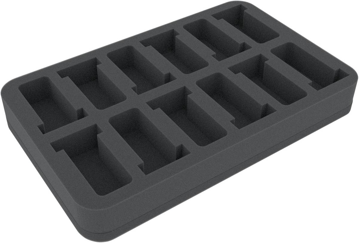 HSDT035BO 35 mm (1.4 inches) half-size Figure Foam Tray with 12 slots