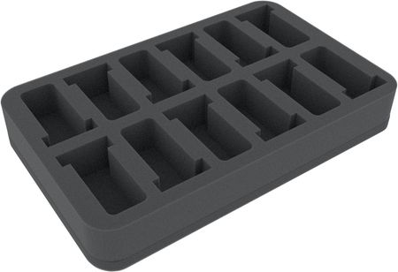 HSDT040BO 40 mm (1.6 inches) half-size Figure Foam Tray with 12 slots