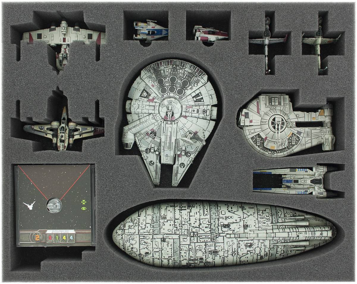 FSJP050BO 50 mm (2 inches) full-size foam tray for Star Wars X-WING Falcon, YT-2400, U-Wing, Rebel Transport