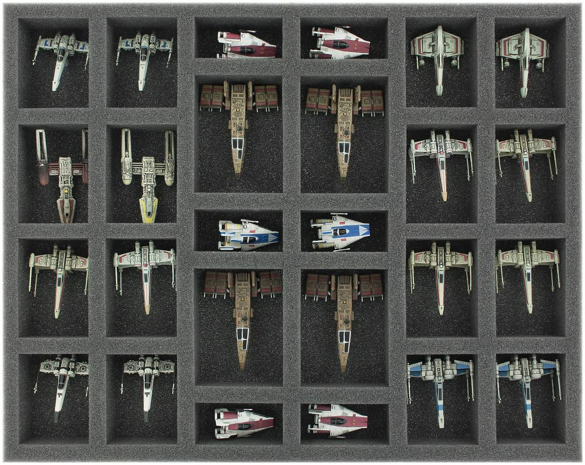 FS035XW02 35 mm (1.38 inches) full-size Foam Tray for 26 Star Wars X-WING Starfighters