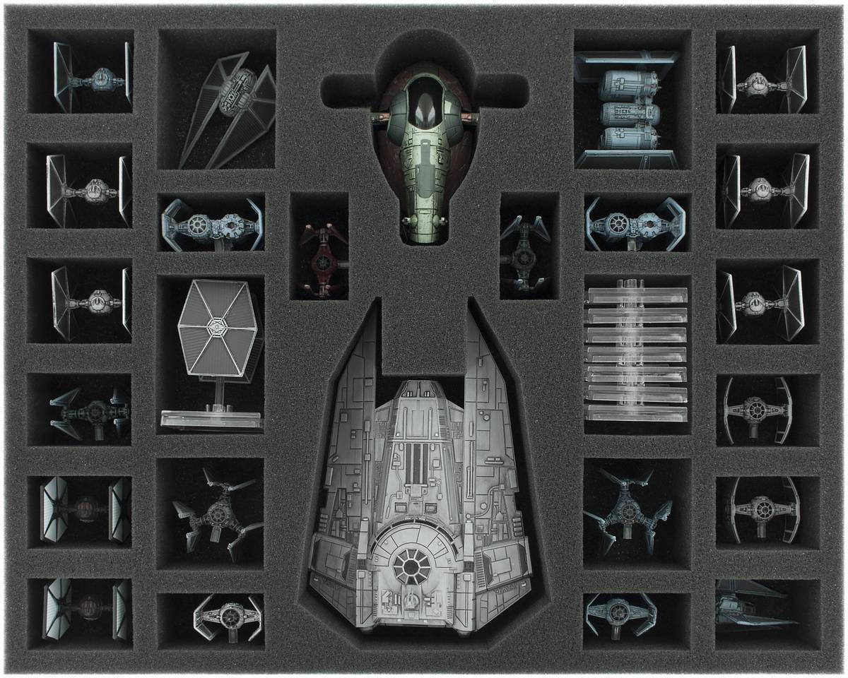 FSJU050BO 50 mm (2 inches) full-size foam tray for Star Wars X-WING Decimator, Slave 1 and Tie Fighter
