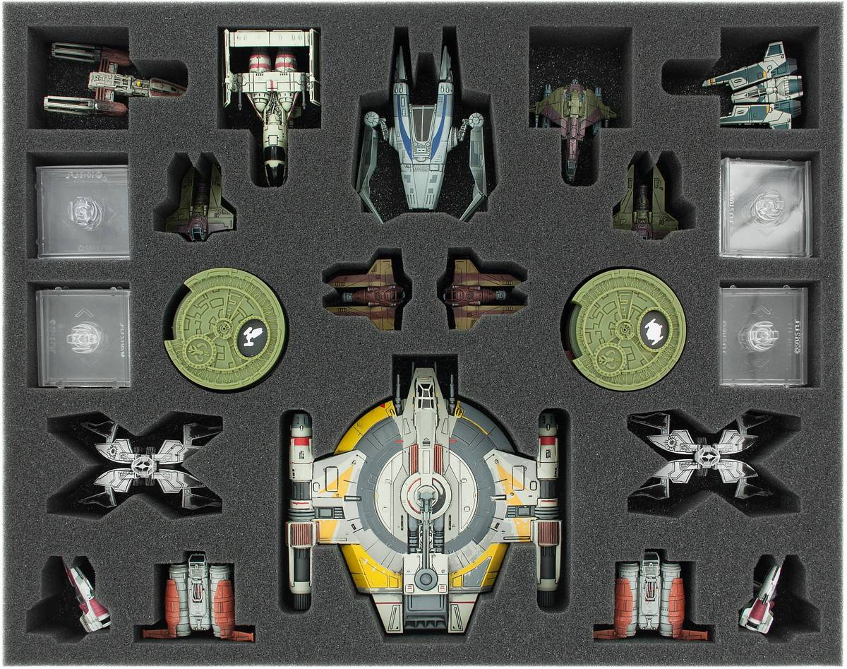 FSJZ040BO 40 mm (1.6 inches) full-size foam tray for Star Wars X-WING Shadow Caster, StarViper, M3-A Interceptor, IG-2000, Z-95, Kihraxz Fighter, Y-Wing and other