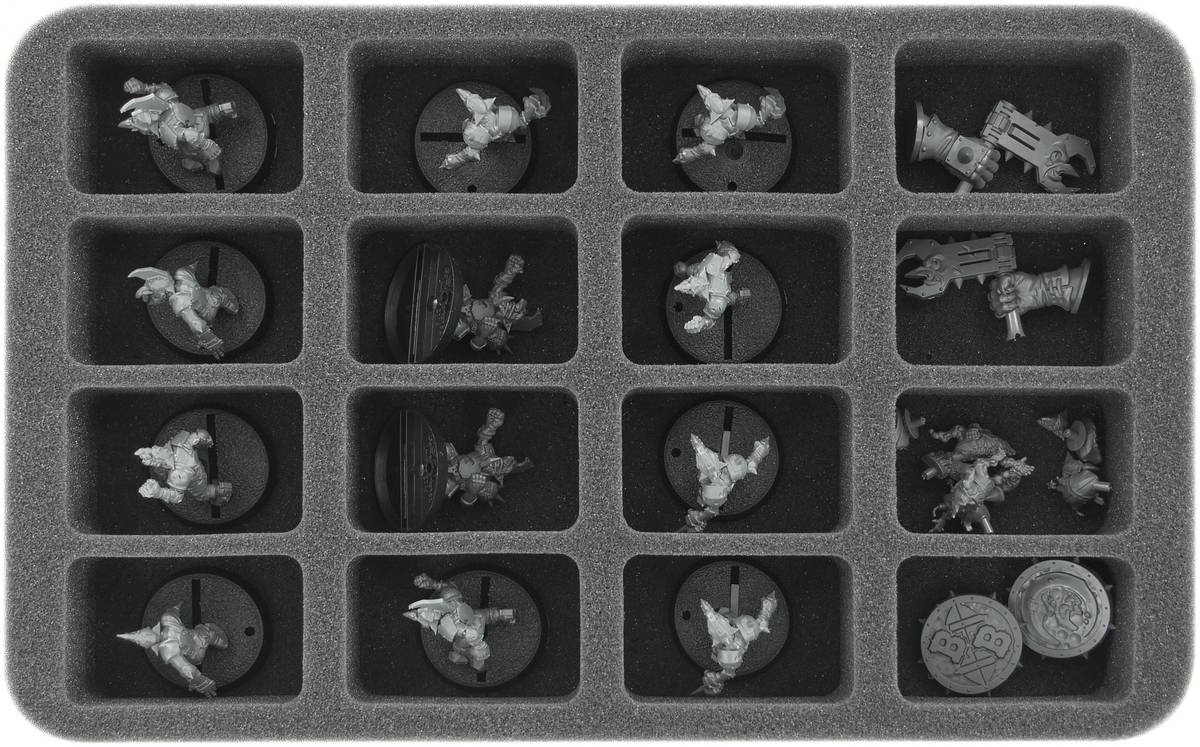 HS040BB07 40 mm (1.57 Inch) half-size foam tray for 16 small Blood Bowl miniatures - 2016 Edition