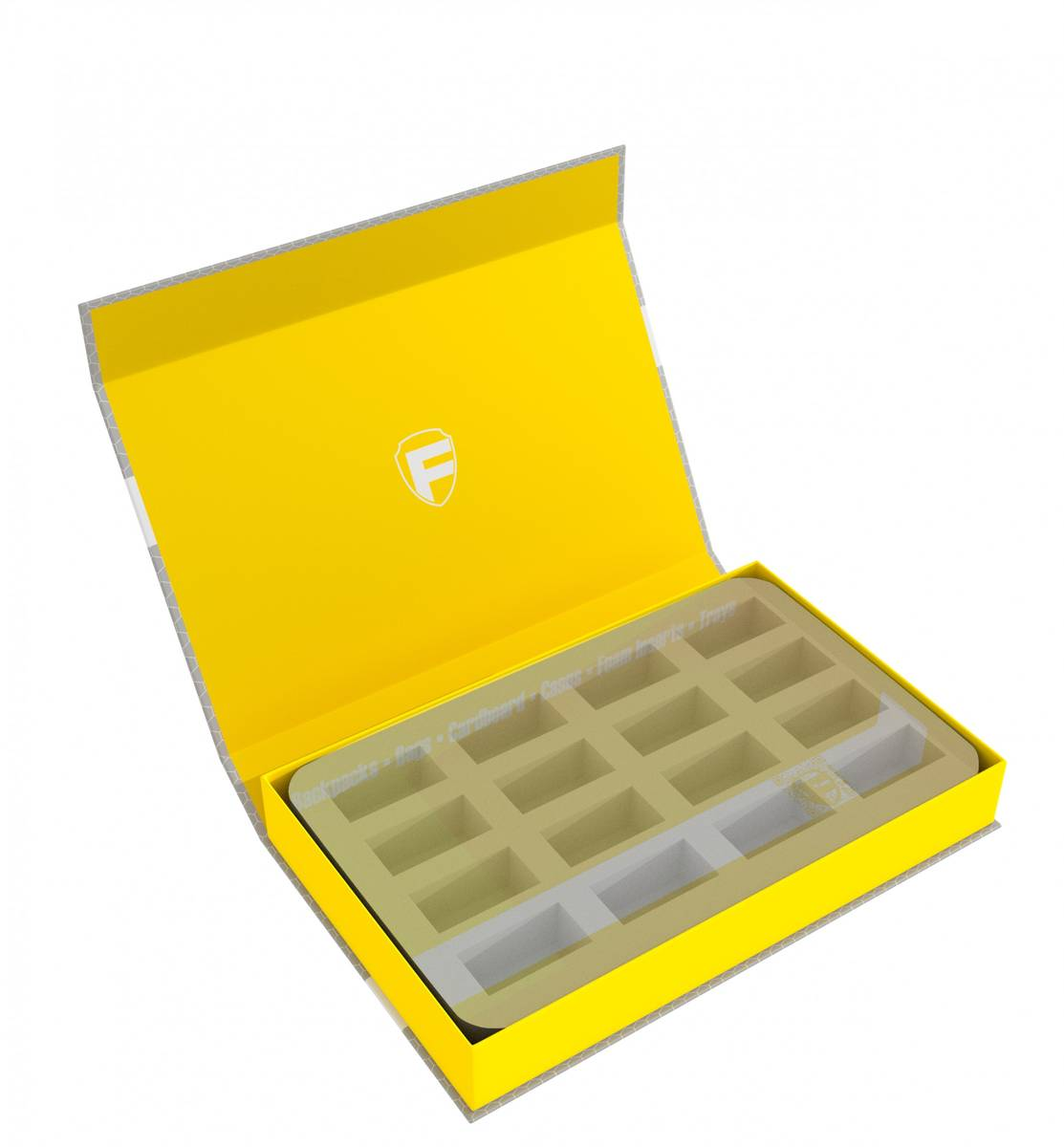 Feldherr Magnetic Box yellow custom - 40 mm Half-Size foam trays of your choice