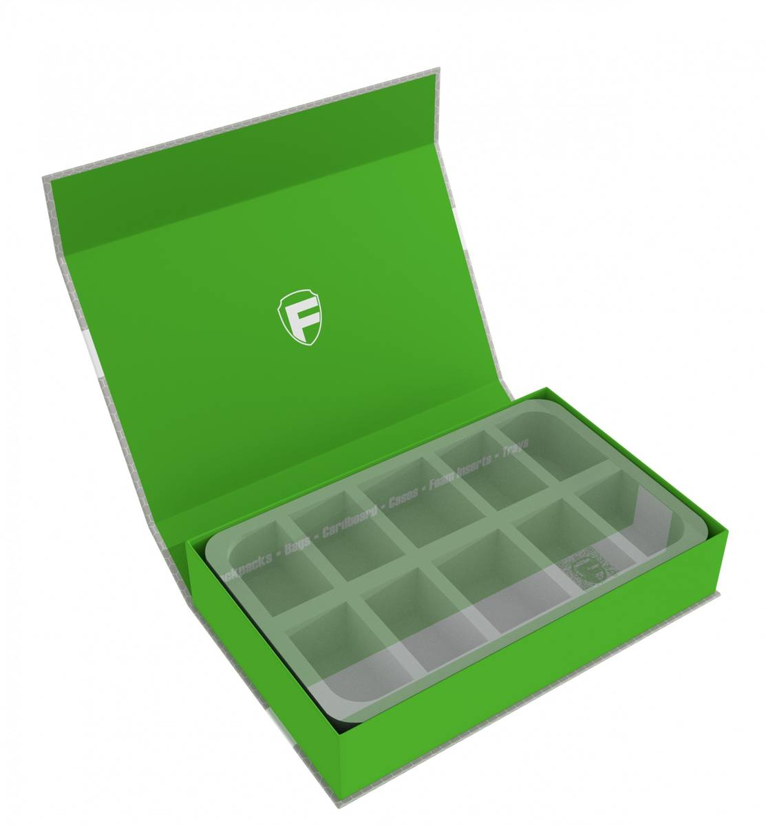 Feldherr Magnetic Box green custom - 55 mm Half-Size foam trays of your choice