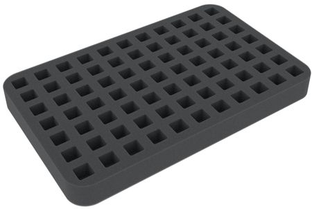 HSLN025BO 25mm (1 inches) half-size foam tray 77 square cut-outs for dice (14mm/0.55inch)