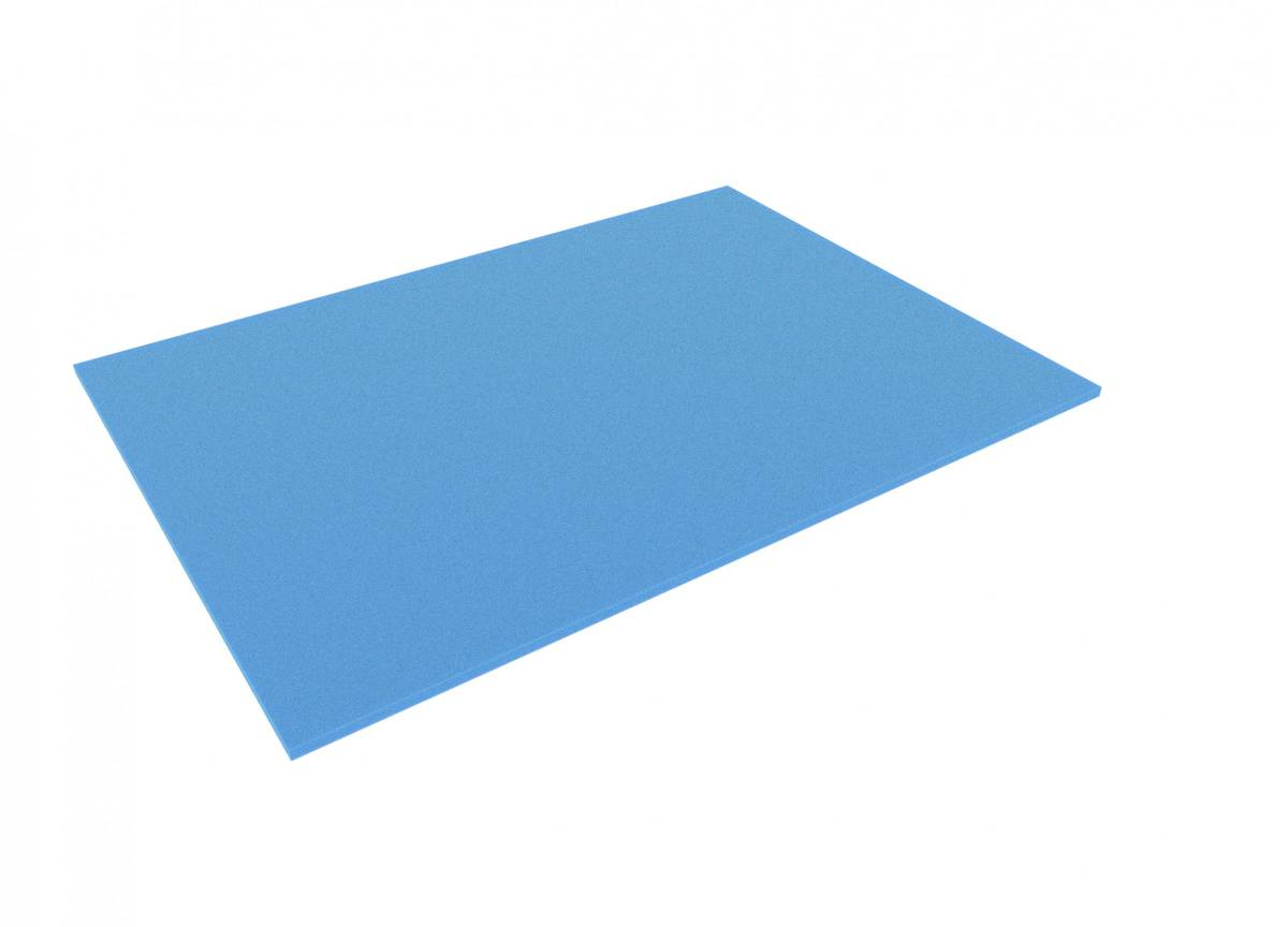 750 mm x 550 mm x 10 mm foam sheet, blue