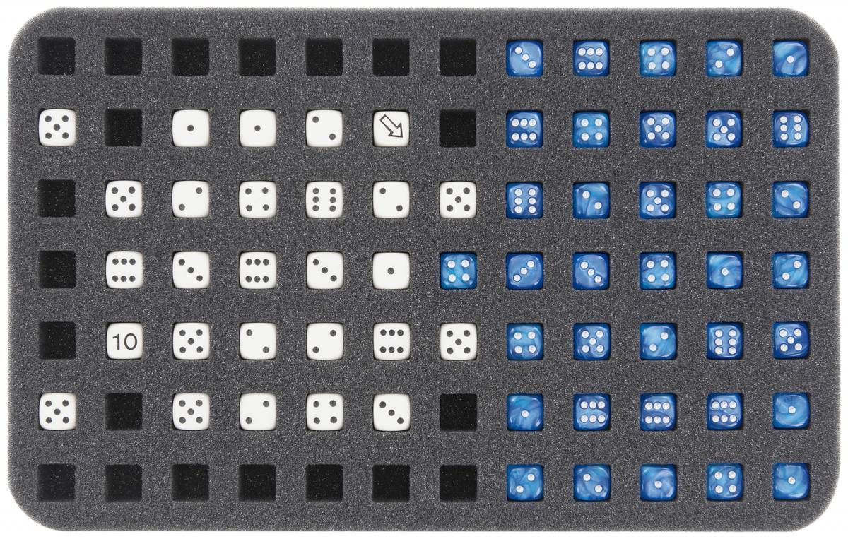 HSMC020BO 20 mm (0.8 inches) half-size foam tray 84 square cut-outs for dice