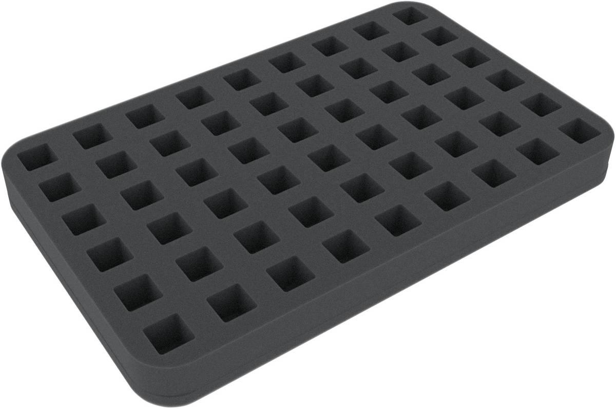HSMA025BO 25 mm półwymiarowa taca z pianki 54 wycięcia kwadratowe