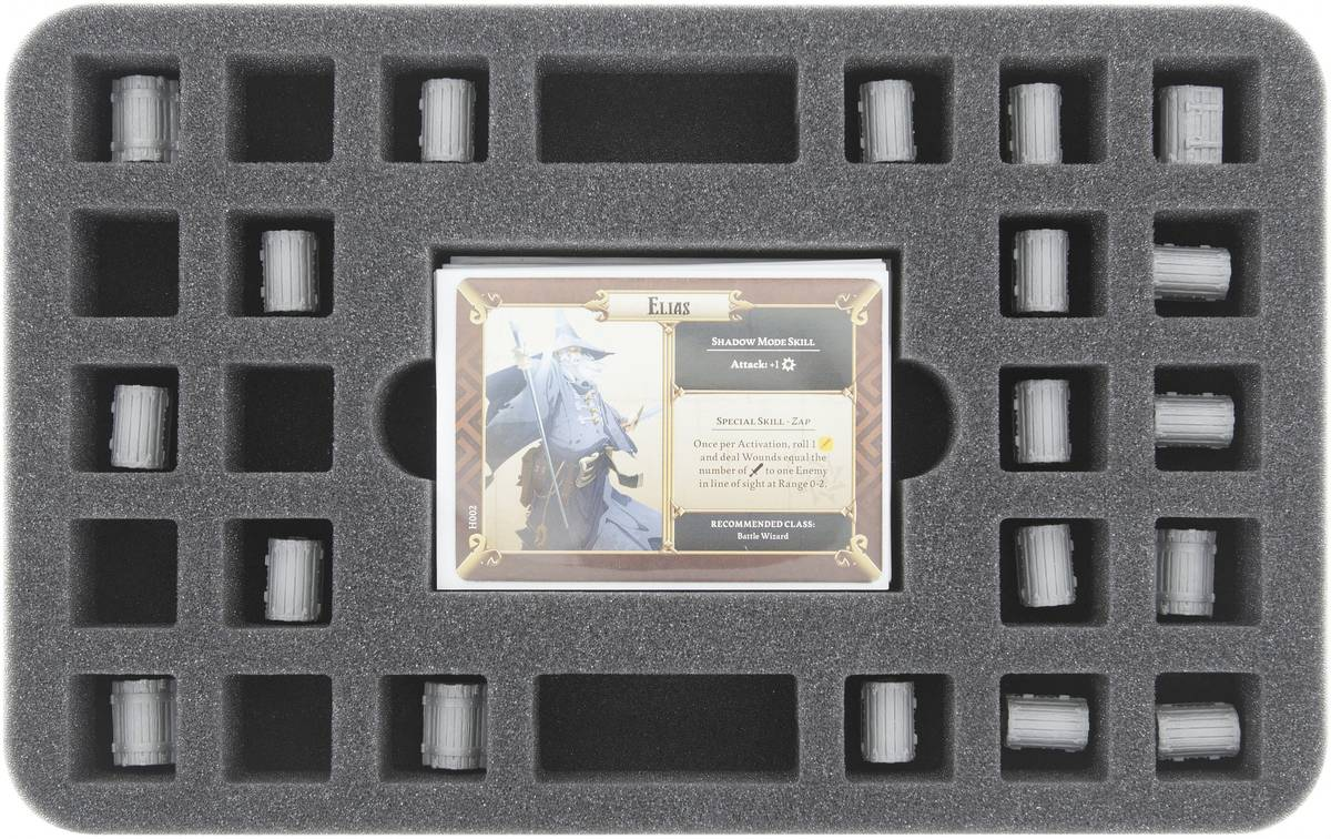 HS030MD09 30 mm (1.18 inches) half-size foam tray 24 square cut-outs plus card-slot for Massive Darkness