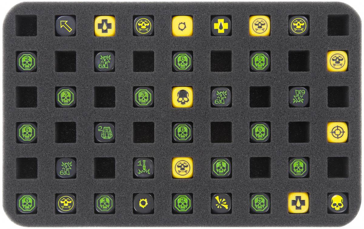 HS025WH14 25 mm (1 inches) half-size foam tray 54 square cut-outs for Warhammer