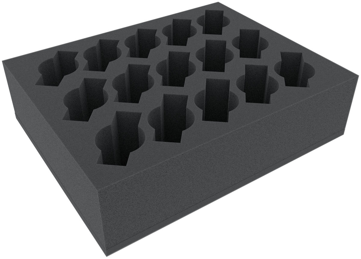 FSFR080BO 80 mm Full-Size foam tray with 15 compartments