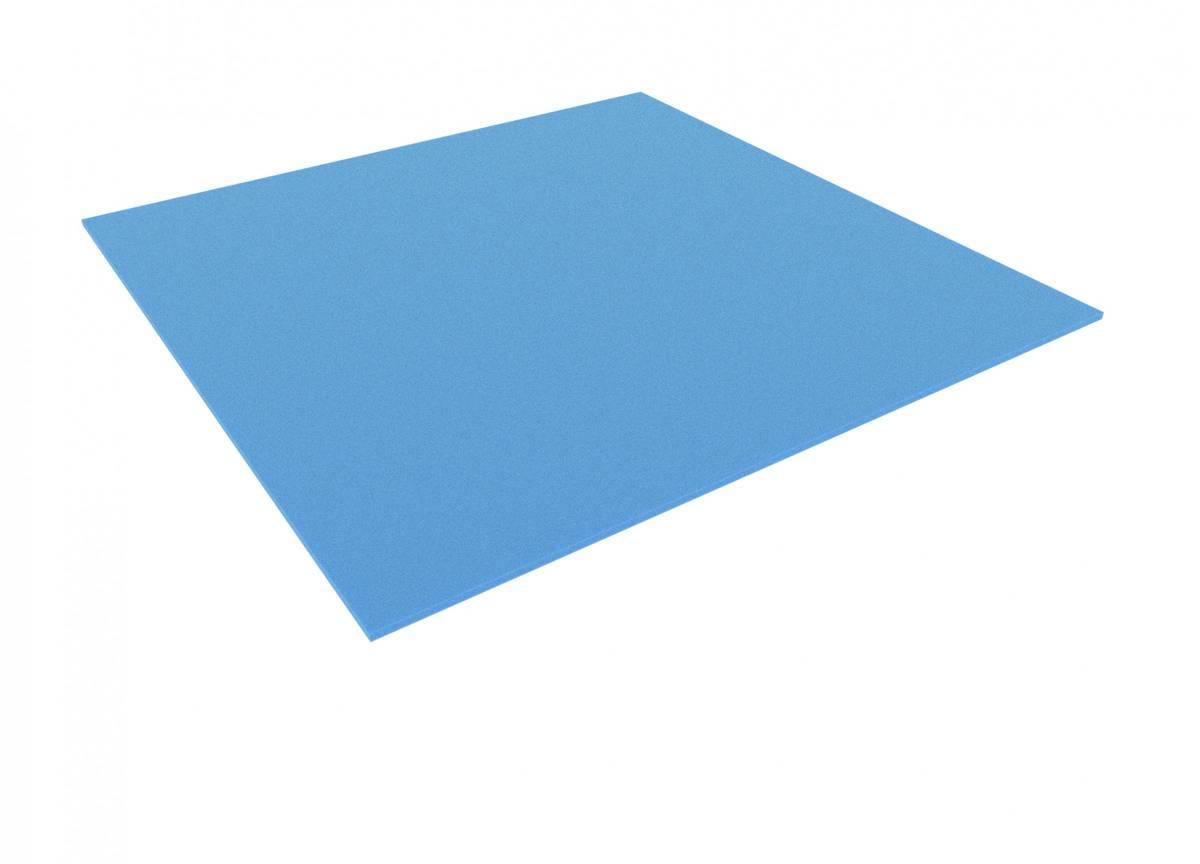 600 mm x 600 mm x 10 mm Schaumstoffzuschnitt / Schaumstoff Platte blau