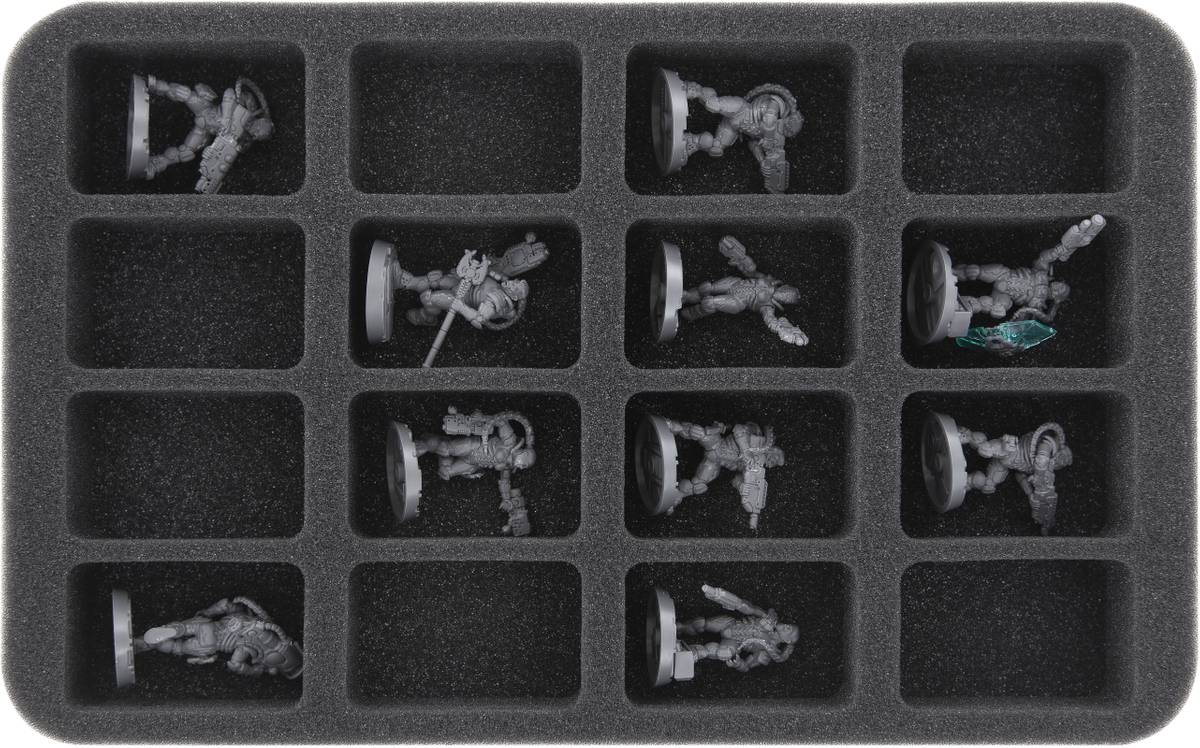 HS050WH21 50mm (2 inches) half-size Figure Foam Tray with 16 slots for Warhammer Necromunda: Underhive
