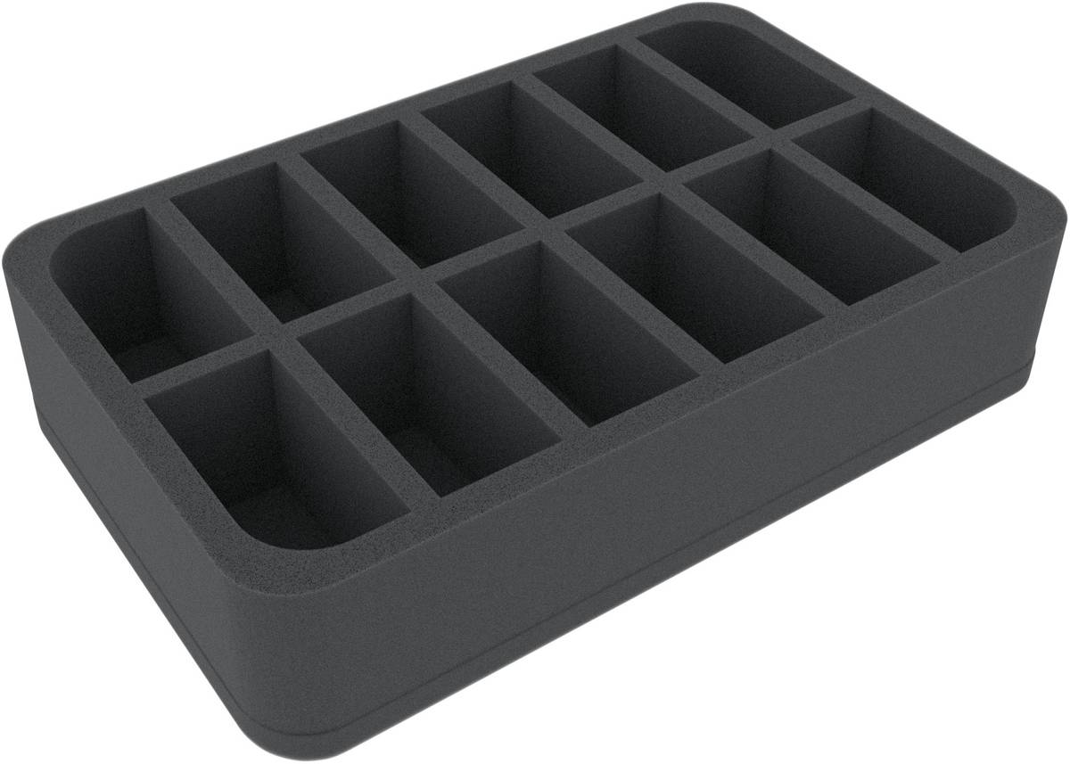 HSMECP060BO 60 mm (2.4 inches) half-size foam tray with 12 slots