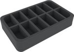 HSMECP050BO 50 mm (2.0 inches) half-size foam tray with 12 slots
