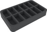 HSMECP045BO 45 mm (1.77 inches) half-size foam tray with 12 slots