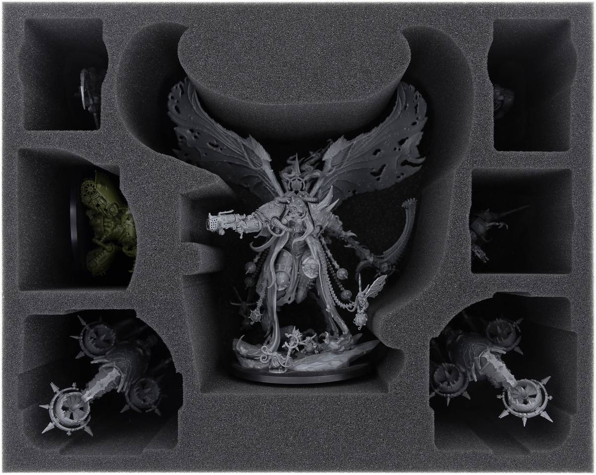 FSMEES120BO foam tray for Mortarion + Foetid Bloat-drone + 4 Nurgle miniatures