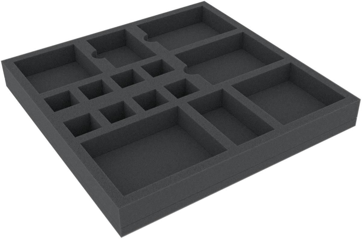 CBMEHY032BO 265 mm x 265 mm x 32 mm Schaumstoffeinlage für Brettspiele - 15 Fächer