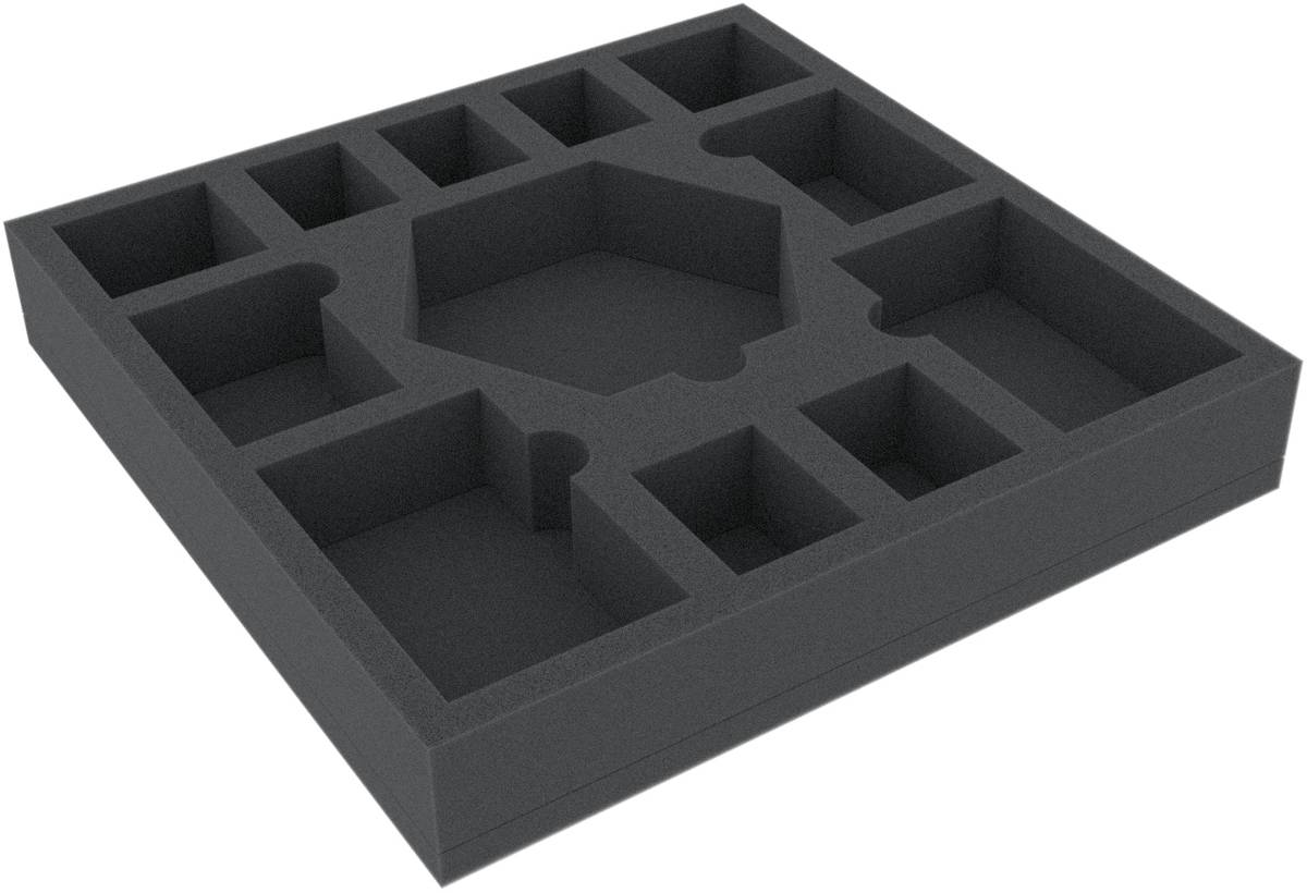 ASMEIN040BO 247 mm x 247 mm x 40 mm Schaumstoffeinlage mit 12 Fächern für Brettspiele