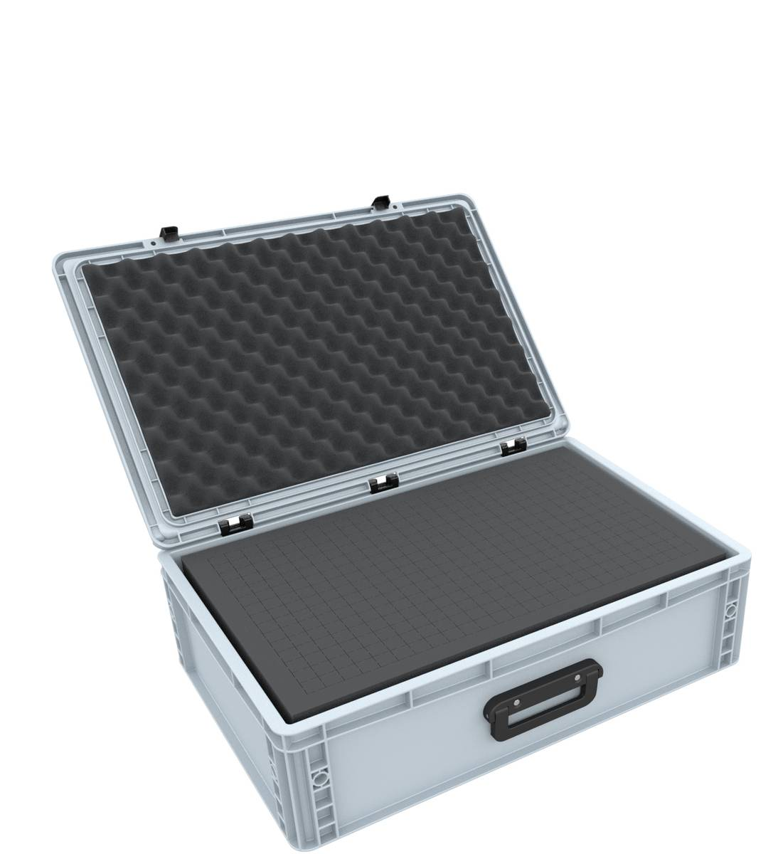 Eurobox Case with handle 600 x 400 x 185 mm inclusive pick and pluck foam