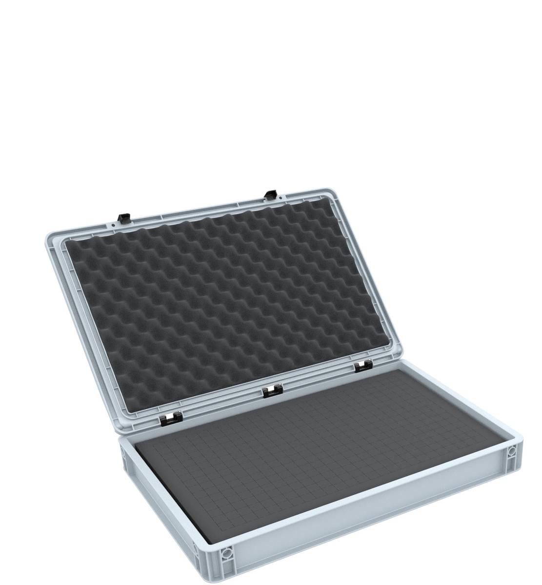 ED 64/75 HG Eurobehälter / Euro Box mit Scharnierdeckel 600 x 400 x 90 mm inklusive Rasterschaumstoff