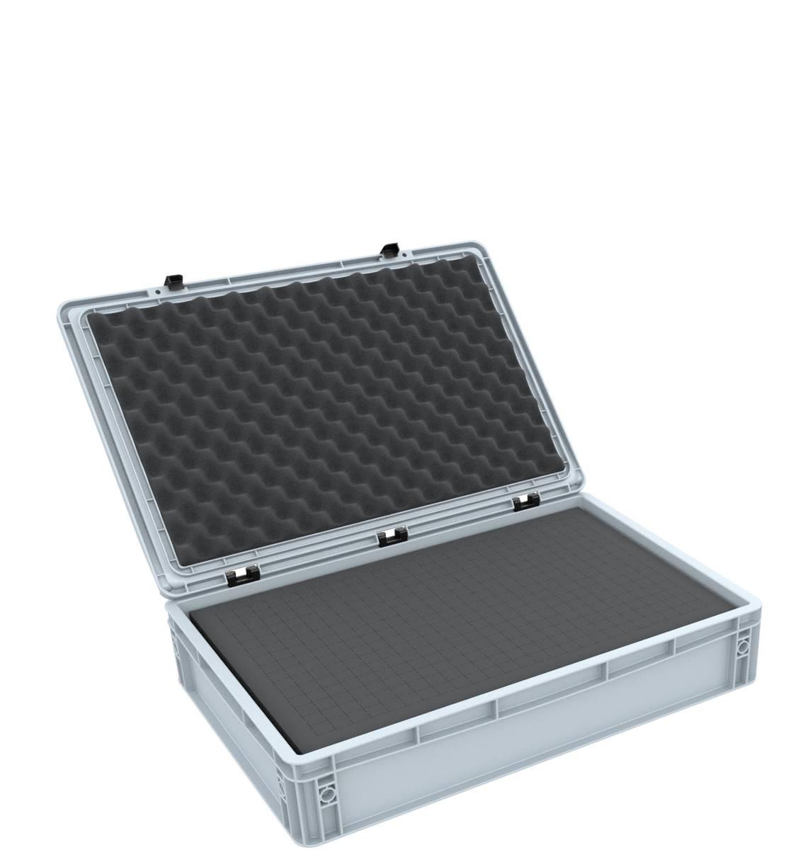 ED 64/12 HG Eurobehälter / Euro Box mit Scharnierdeckel 600 x 400 x 135 mm inklusive Rasterschaumstoff