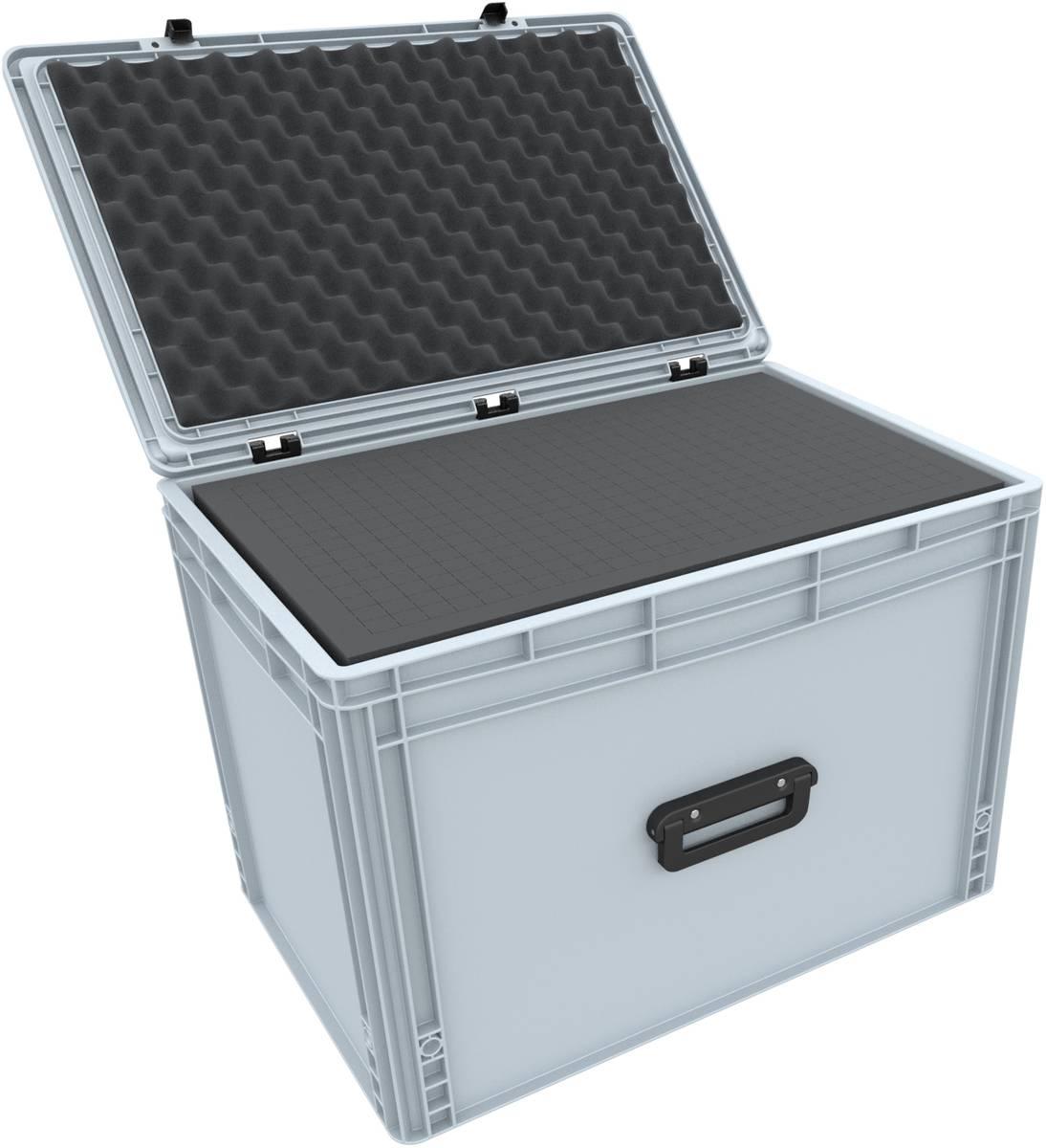 ED 64/42 1G Eurobehälter Koffer mit Griff 600 x 400 x 435 mm inklusive Rasterschaumstoff