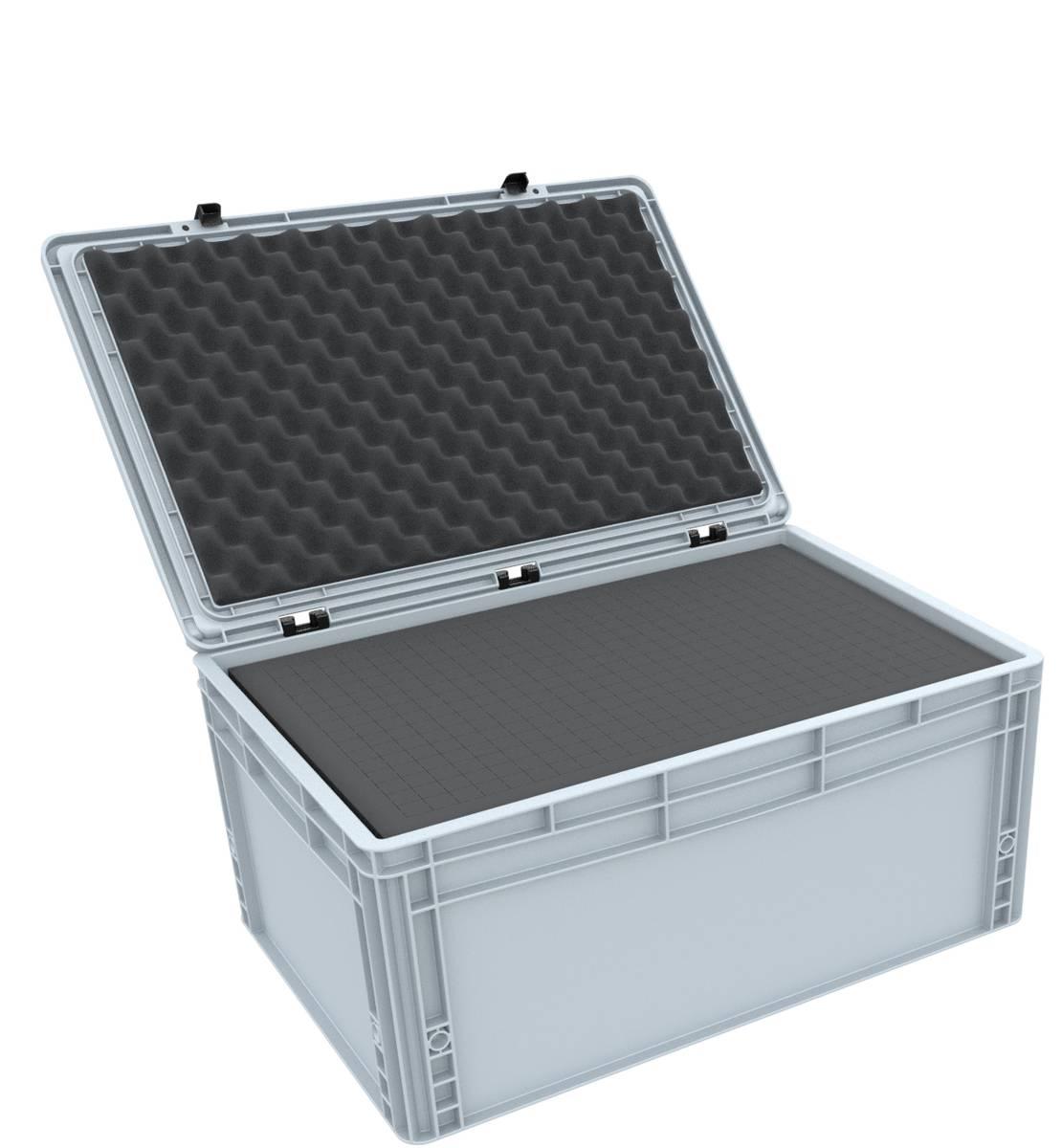 ED 64/27 HG Eurobehälter / Euro Box mit Scharnierdeckel 600 x 400 x 285 mm inklusive Rasterschaumstoff