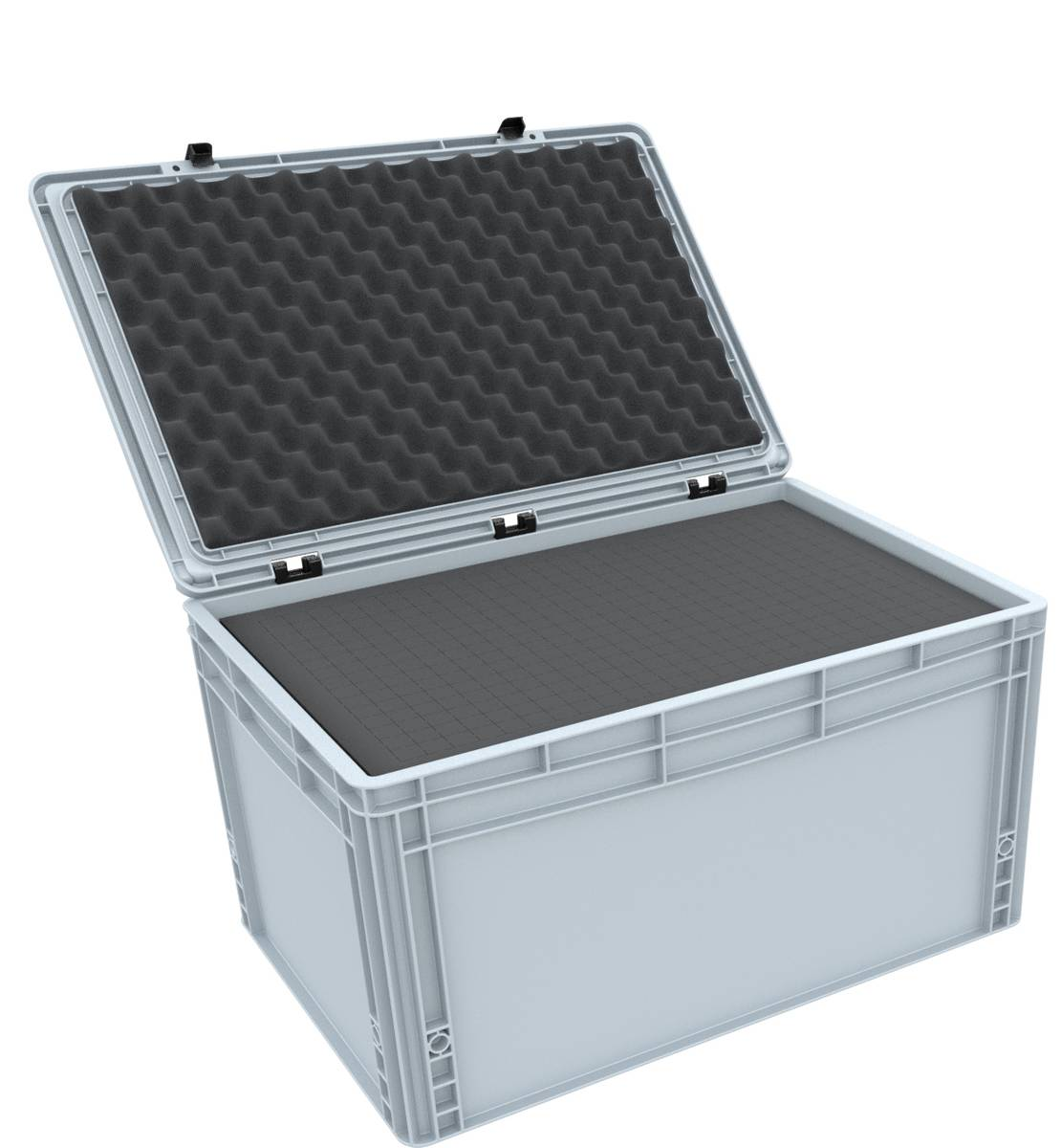 ED 64/32 HG Eurobehälter / Euro Box mit Scharnierdeckel 600 x 400 x 335 mm inklusive Rasterschaumstoff