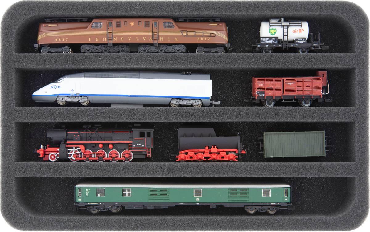 HS035A002 Incrustation de mousse, écartement N - horizontal - 4 fentes pour locomotives, wagons et véhicules ferroviaires miniatures