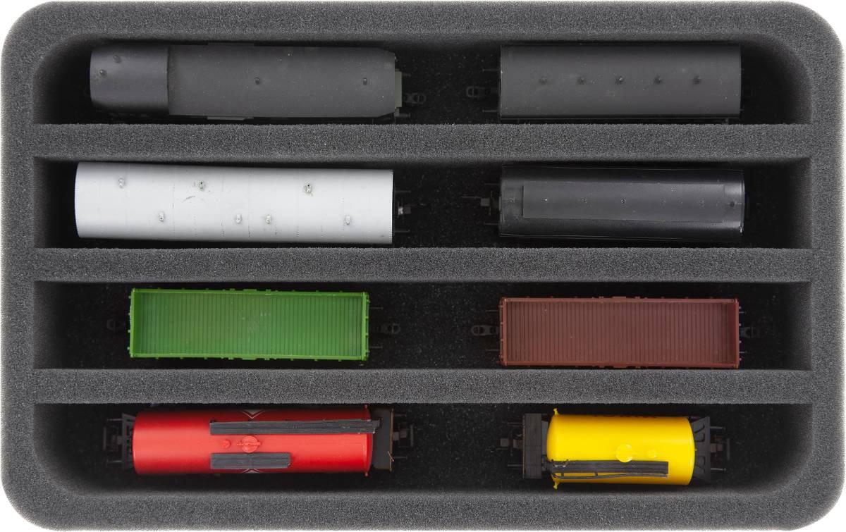 HS050A006 Schaumstoffeinlage Spur TT - stehend - 4 Stege für Modelleisenbahn Loks, Wagons und Fahrzeuge
