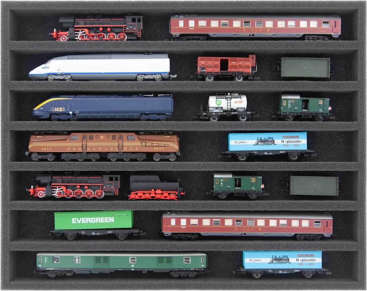 FS035A001 Schaumstoffeinlage Spur N - liegend - 7 Stege für Modelleisenbahn Loks, Wagons und Fahrzeuge