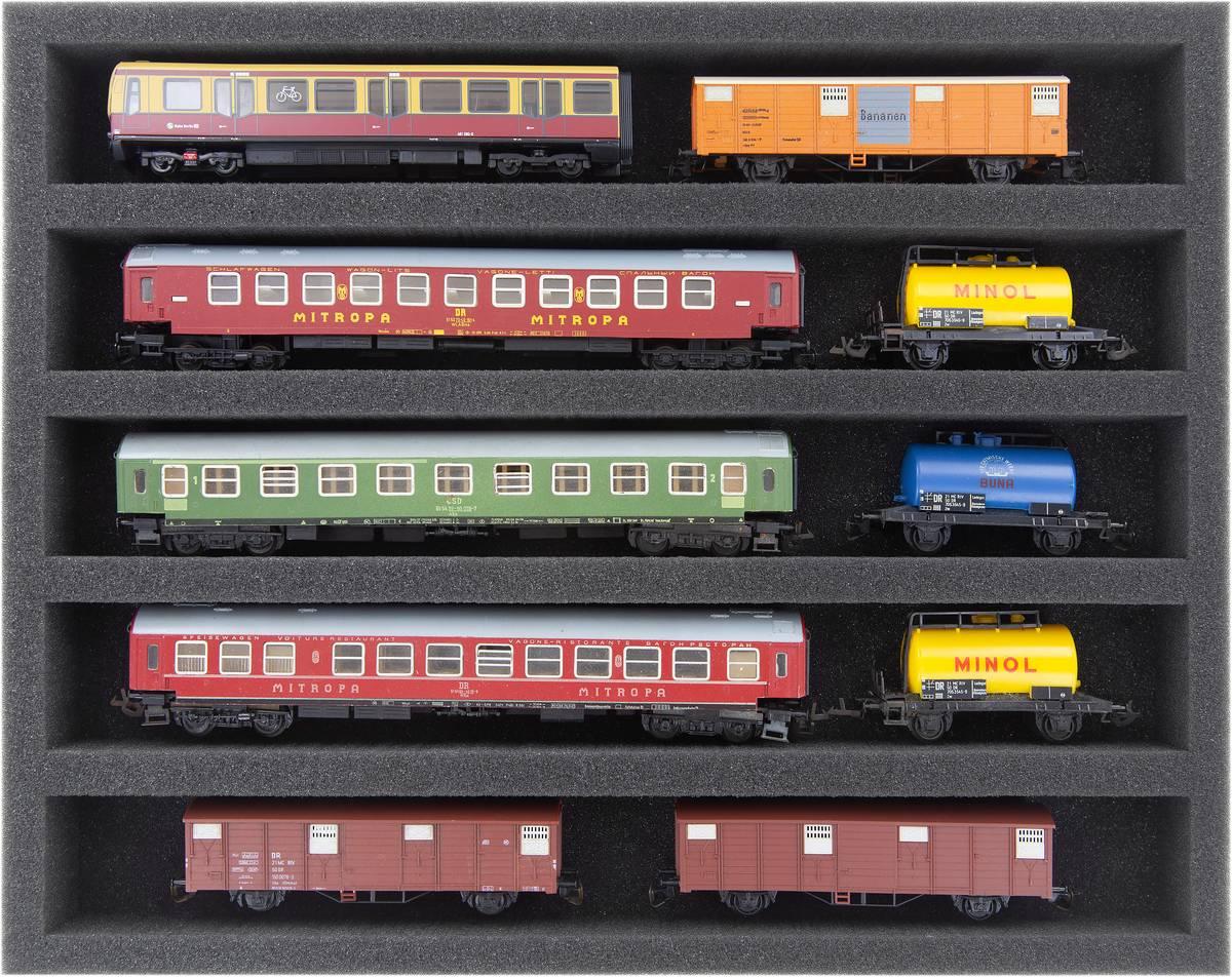 FS040A002 Foam inlay TT-gauge - horizontal - 5 slots for model railway locomotives, wagons and vehicles