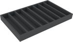 DS050A001 Foam inlay H0-gauge horizontal 8 slots for model railway locomotives, wagons and vehicles