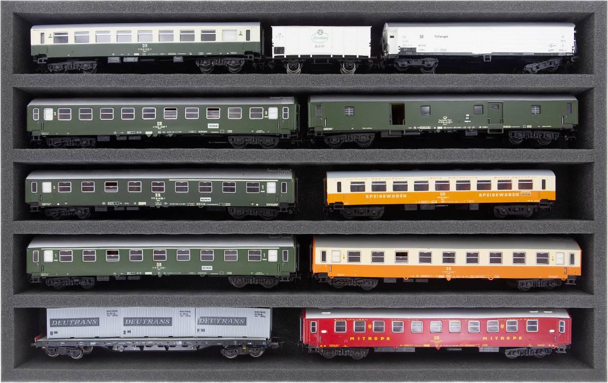 DS050A002 Schaumstoffeinlage Spur H0 - liegend - 5 Stege für Modelleisenbahn Loks, Wagons und Fahrzeuge