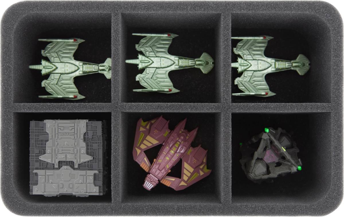 HS075A004 Schaumstoffeinlage für Star Trek Attack Wing - 6 Fächer