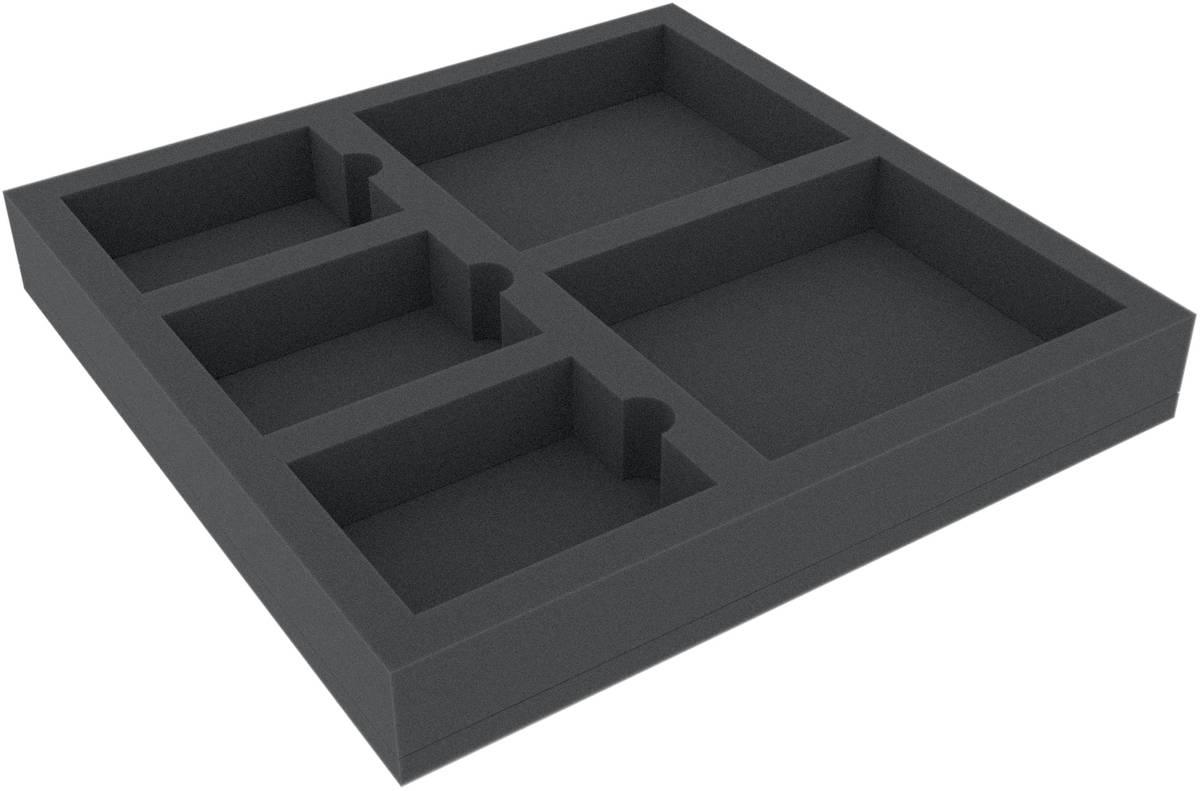 AFMEMW040BO 285 mm x 285 mm x 40 mm Schaumstoffeinlage für Brettspiele - 5 Fächer