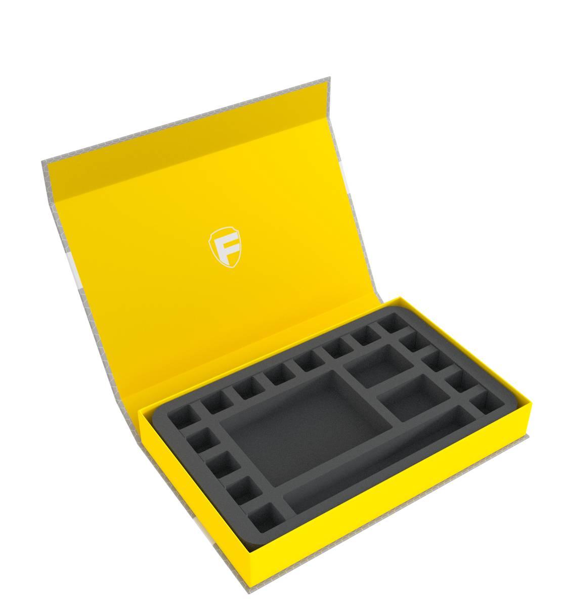 Feldherr Magnetbox gelb für Pen & Paper Rollenspiele mit Würfel-Tray