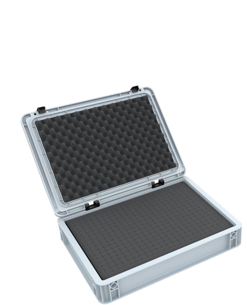 ED 43/75 HG Eurobehälter / Euro Box mit Scharnierdeckel 400 x 300 x 90 mm inklusive Rasterschaumstoff