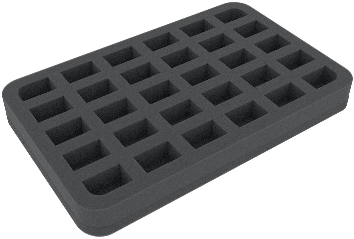 HS035A006 35 mm Schaumstoffeinlage für Miniaturen im Maßstab 1:100 (15 mm) – 30 Fächer