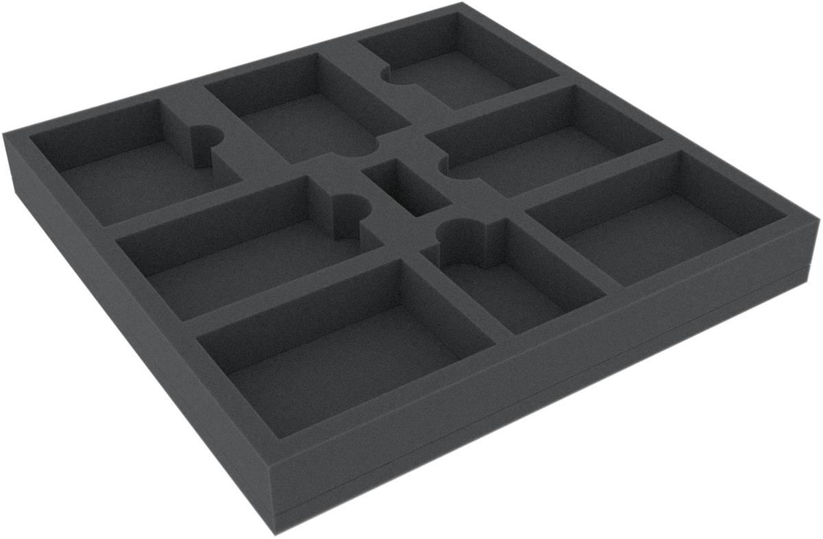 AWMEPR035BO 280 mm x 280 mm x 35 mm Schaumstoffeinlage für Brettspiele - 9 Fächer