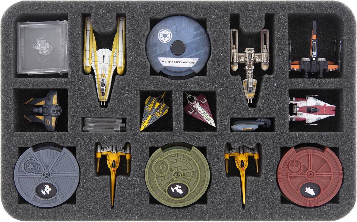 HSMERQ030BO Feldherr Schaumstoffeinlage für Star Wars X-Wing: BTL-B Y-Flügler + Königlicher N-1 Sternenjäger von Naboo