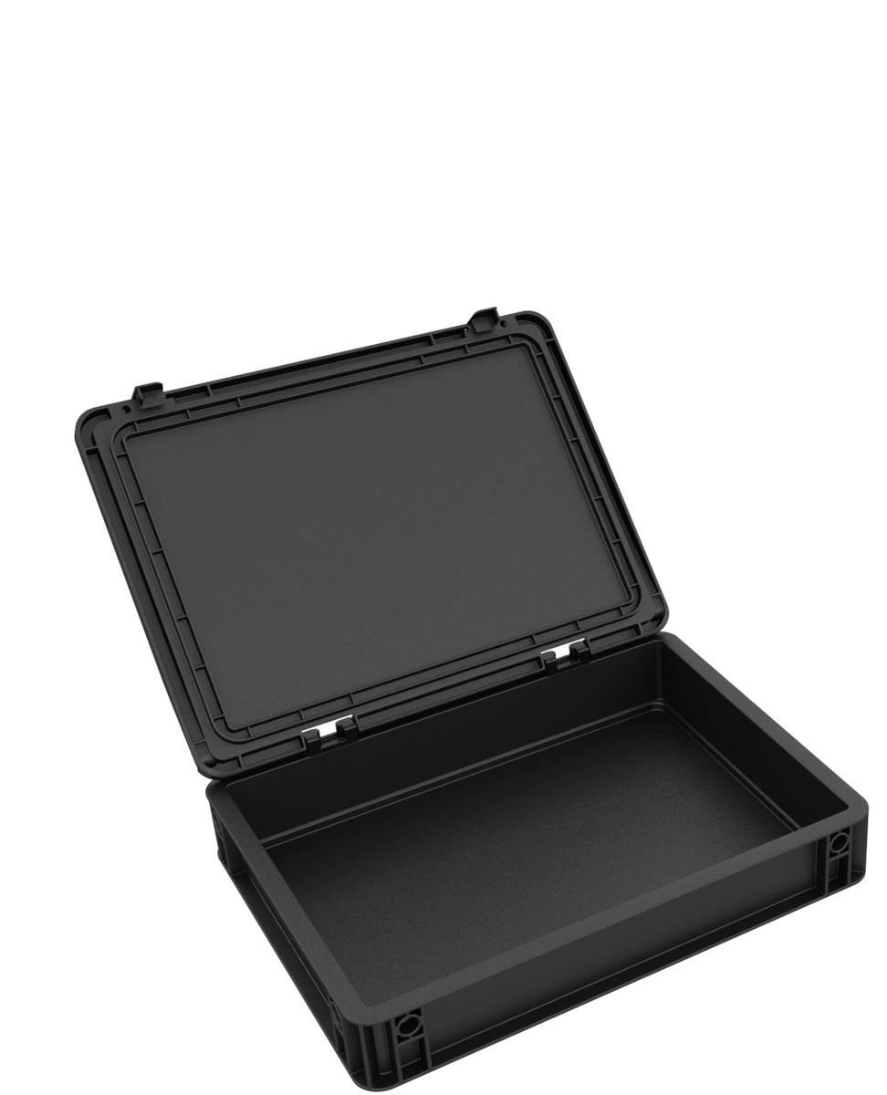 DDEB070ESD Eurobehälter / Euro Box mit Scharnierdeckel ESD ED 43/75 HG
