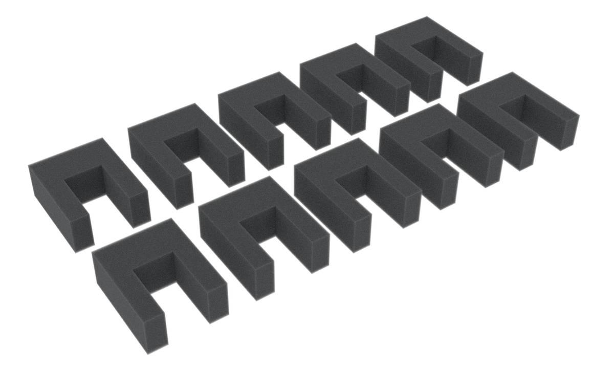 10 Distanzstücke / Abstandshalter aus Schaumstoff für Modelleisenbahnen 50 mm x 40 mm x 20 mm